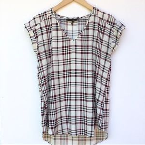Express V-Neck Cuffed Sleeve Plaid Blouse Size M